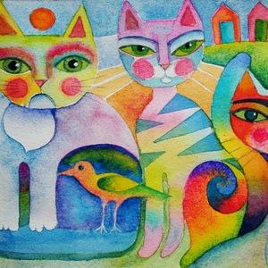 (CreativeWork) Three cats and bird by Karin Zeller. watercolour. Shop online at Bluethumb.