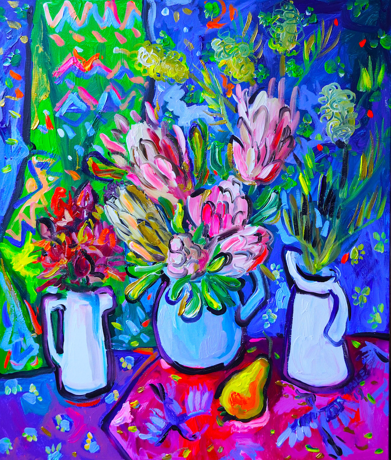 (CreativeWork) Still Life with Grevillea by Katerina Apale. arcylic-painting. Shop online at Bluethumb.
