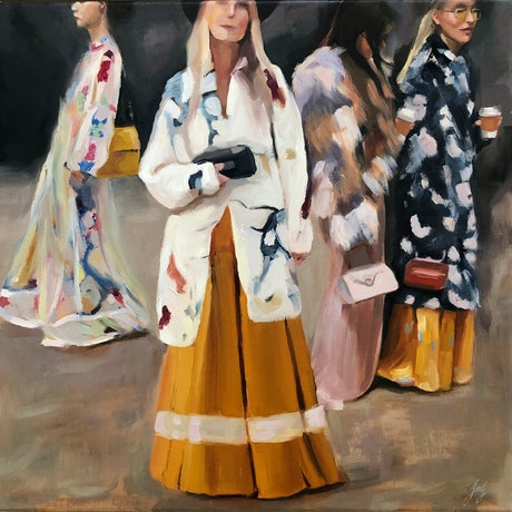 (CreativeWork) The Fashion Set by Jessica Guthrie. Oil Paint. Shop online at Bluethumb.