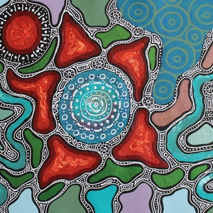 (CreativeWork) Aboriginal Artist: Marie Laruffa Napurulla - Grandmother's Journey through the Sacred Country (Blue)  by Catherine Jaktman - Curator. arcylic-painting. Shop online at Bluethumb.