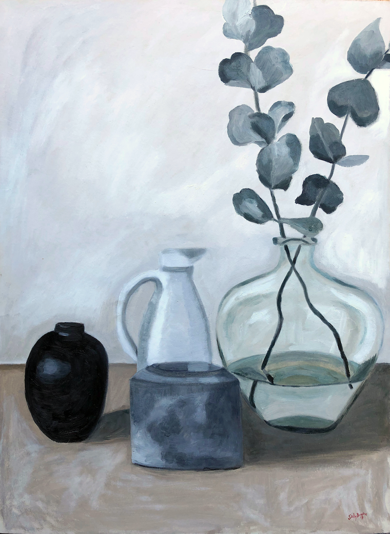 (CreativeWork) Silver Dollar and mixed Vessels by Sally Browne. oil-painting. Shop online at Bluethumb.