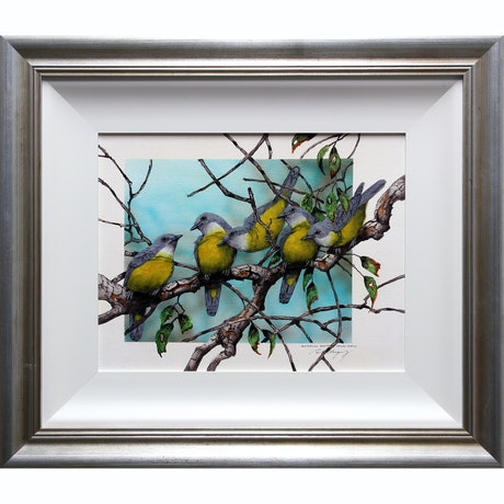 (CreativeWork) AUSTRALIAN EASTERN YELLOW ROBINS by Paul Margocsy. Watercolour Paint. Shop online at Bluethumb.