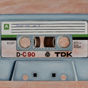 (CreativeWork) Mixed tape vol 2 - Retro series.   by Damien Venditti. oil-painting. Shop online at Bluethumb.