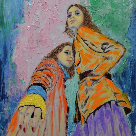 (CreativeWork) Fashionista - colourful textured figurative painintg by Sergio  Paul Ianniello. Acrylic Paint. Shop online at Bluethumb.