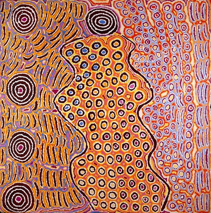 (CreativeWork) Lappi Lappi Jukurrpa (Lappi Lappi Dreaming) by Alice Nampijinpa Michaels. #<Filter:0x00007f00e4389f00>. Shop online at Bluethumb.