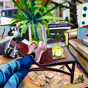 (CreativeWork) Lazy afternoon in the studio by Alison Pilcher. arcylic-painting. Shop online at Bluethumb.