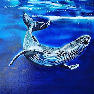 (CreativeWork) Mr Whale by Olivia Robinson. acrylic-painting. Shop online at Bluethumb.