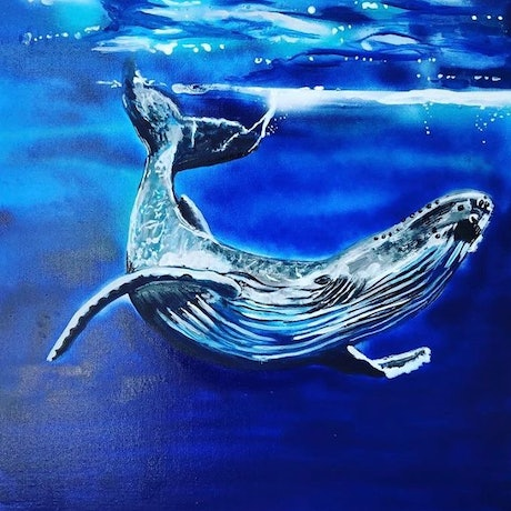 (CreativeWork) Mr Whale by olivia Robinson. Acrylic Paint. Shop online at Bluethumb.