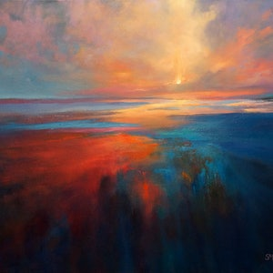(CreativeWork) ON THE EDGE by Sandra Michele Knight. oil-painting. Shop online at Bluethumb.