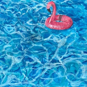 (CreativeWork) Flamingo taking a swim  by Olivia Robinson. #<Filter:0x00007fa5658cf890>. Shop online at Bluethumb.
