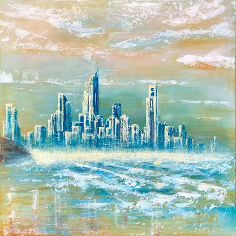 (CreativeWork) GOLDEN COAST by JOLANTA BIBIANNA MACIOLEK. Acrylic Paint. Shop online at Bluethumb.