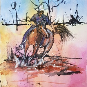 (CreativeWork) On the Range by Marion Hughes. mixed-media. Shop online at Bluethumb.