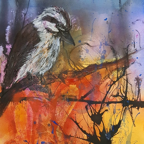 (CreativeWork) On the Lookout by Marion Hughes. Mixed Media. Shop online at Bluethumb.