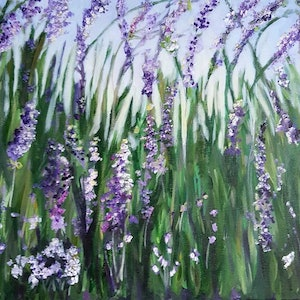 (CreativeWork) MODERN IMPRESSIONISTIC PAINTING, FLOWERS ON A WINTER MORNING by Leigh Elks. arcylic-painting. Shop online at Bluethumb.