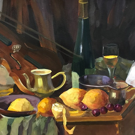 (CreativeWork) Violin and Wine Still Life- UNFRAMED by Christina Sun. Oil Paint. Shop online at Bluethumb.
