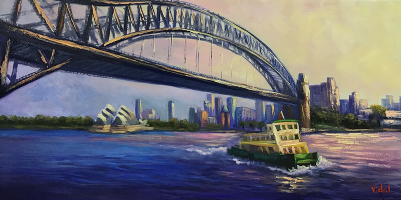 (CreativeWork) From Sydney Harbour by ferry at sunset - ready to hang by Christopher Vidal. oil-painting. Shop online at Bluethumb.