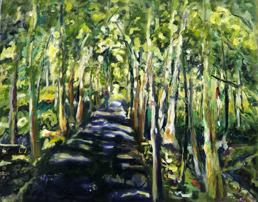 (CreativeWork) If You Go Down To The Woods Today by Maureen Finck. Oil Paint. Shop online at Bluethumb.