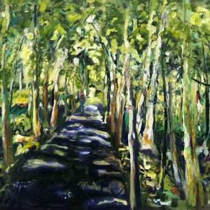 (CreativeWork) If You Go Down To The Woods Today by Maureen Finck. oil-painting. Shop online at Bluethumb.