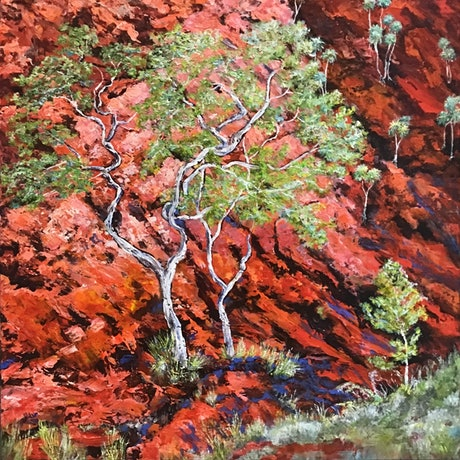 (CreativeWork) Red Rock Home, framed in natural oak by Sharon DeSailly. Acrylic Paint. Shop online at Bluethumb.
