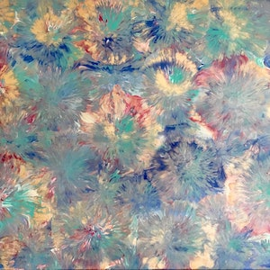 "(CreativeWork) ""Groovy"" colourful abstract flower painting by Debra Ryan. mixed-media. Shop online at Bluethumb."
