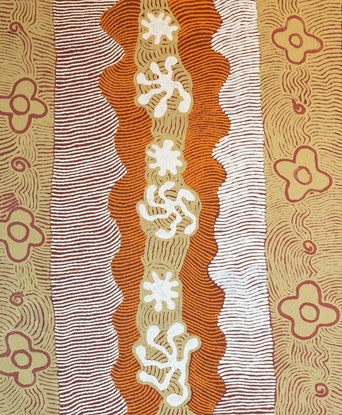 (CreativeWork) Janmarda 575-18 by Emily Andy Napaltjarri. Acrylic Paint. Shop online at Bluethumb.