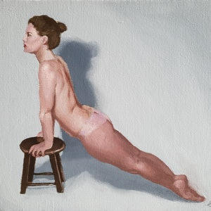 (CreativeWork) Stretching Nude by Jemma Cakebread. oil-painting. Shop online at Bluethumb.