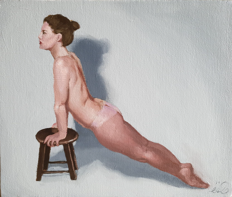 (CreativeWork) Stretching Nude by Jemma Cakebread. Oil Paint. Shop online at Bluethumb.