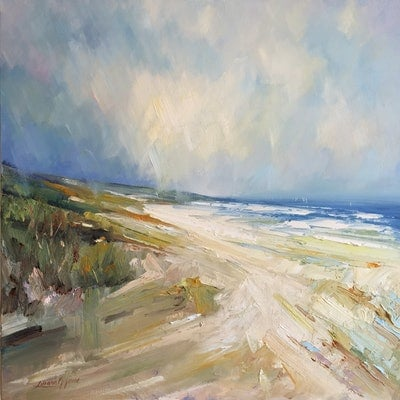 (CreativeWork) Portsea - The Back beach No 15 by Liliana Gigovic. oil-painting. Shop online at Bluethumb.