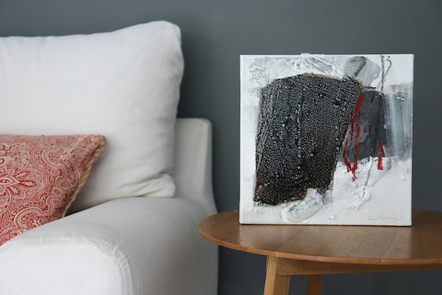 (CreativeWork) Box Fish - Small square neutral abstract by Stephanie Laine. Mixed Media. Shop online at Bluethumb.