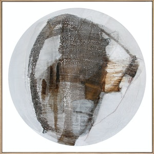 (CreativeWork) Kala - large neutral grey brown circle abstract by Stephanie Laine. mixed-media. Shop online at Bluethumb.