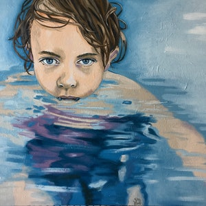 (CreativeWork) Water Baby by sara bell. oil-painting. Shop online at Bluethumb.
