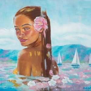 (CreativeWork) I dream of returning to the island by Michelle Angelique. acrylic-painting. Shop online at Bluethumb.