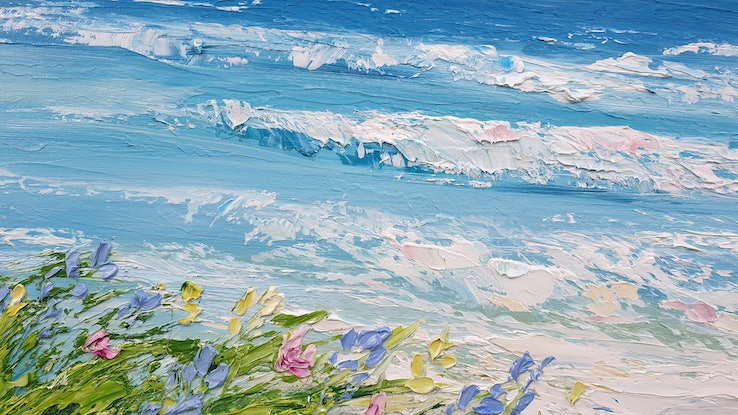 (CreativeWork) Garden By The Sea - Framed - Beach Art by Angela Hawkey. Oil Paint. Shop online at Bluethumb.