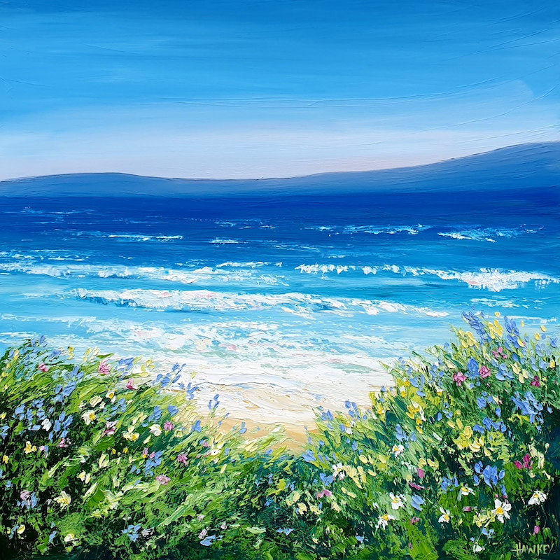 (CreativeWork) Garden By The Sea - Framed - Beach Art by Angela Hawkey. oil-painting. Shop online at Bluethumb.