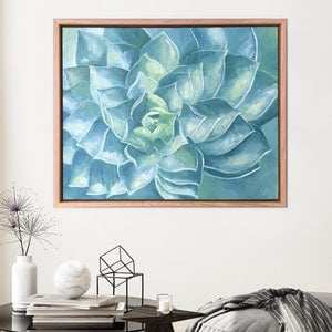 (CreativeWork) Succulent Spiral (Framed) by Eve Sellars. oil-painting. Shop online at Bluethumb.