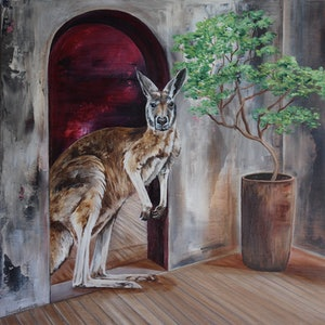 (CreativeWork) Kangaroo  by Bonnie Larden. arcylic-painting. Shop online at Bluethumb.