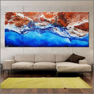 (CreativeWork) Coastal Change 240cm x 100cm Rust Ochre Oxide blue ocean Textured Acrylic Abstract Gloss Finish FRANKO by _Franko _. arcylic-painting. Shop online at Bluethumb.