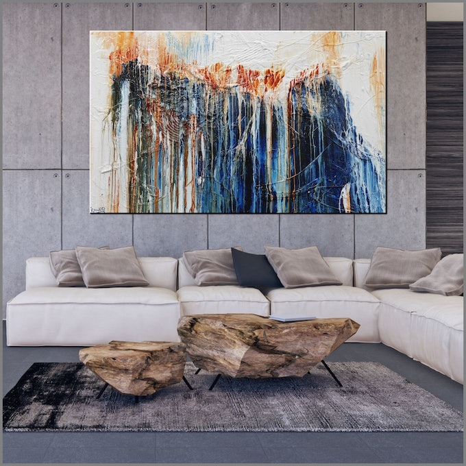 (CreativeWork) The Blue Hustler  160cm x 100cm Rust Ochre Oxide Textured Acrylic Abstract Gloss Finish FRANKO by _Franko _. #<Filter:0x000056473753d660>. Shop online at Bluethumb.