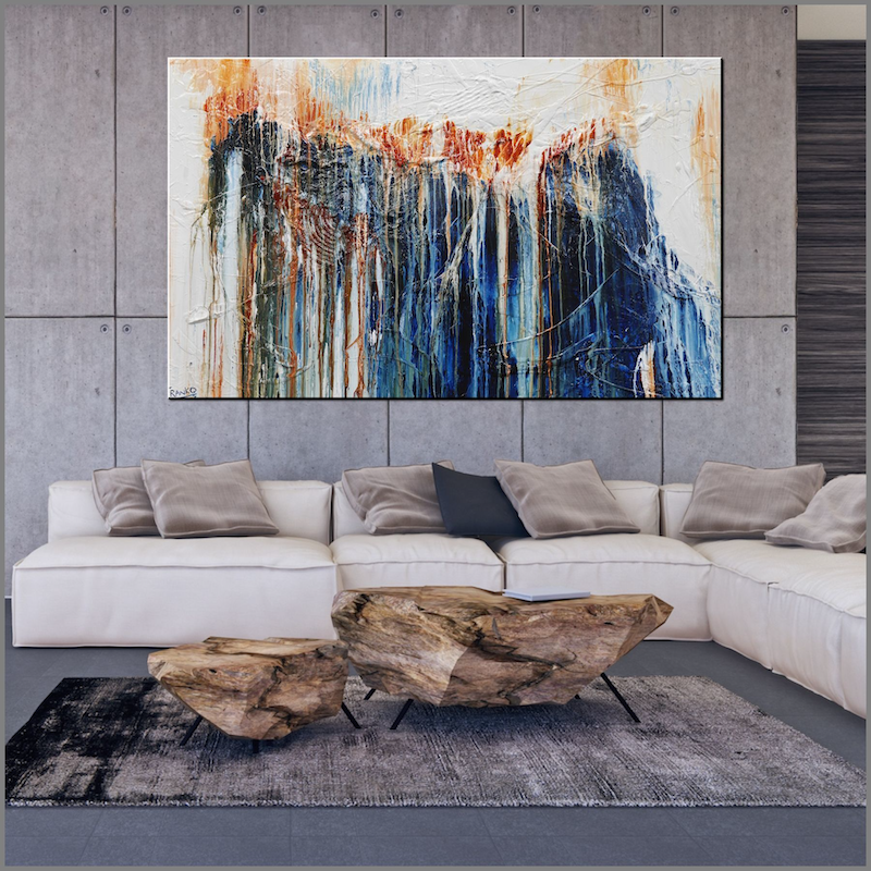 (CreativeWork) The Blue Hustler  160cm x 100cm Rust Ochre Oxide Textured Acrylic Abstract Gloss Finish FRANKO by _Franko _. acrylic-painting. Shop online at Bluethumb.