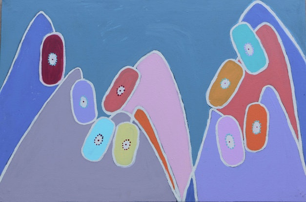 (CreativeWork) Bendy Flowers (18-EP146) by Kaye Beasley. Acrylic Paint. Shop online at Bluethumb.
