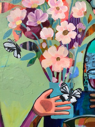(CreativeWork) Butterfly Visit  by Sandra Oost. Mixed Media. Shop online at Bluethumb.