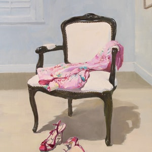 (CreativeWork) Dressing Room by Li Zhou. oil-painting. Shop online at Bluethumb.