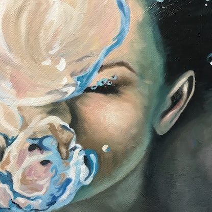 (CreativeWork) Breaking the Surface by Amanda Cameron. Oil Paint. Shop online at Bluethumb.