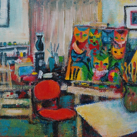 (CreativeWork) My Studio by Karin Zeller. Acrylic Paint. Shop online at Bluethumb.