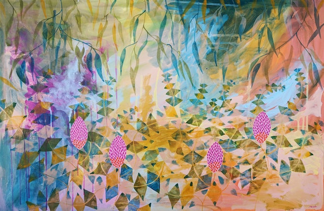 (CreativeWork) Basking in the  Banksia's by Marinka Parnham. Acrylic Paint. Shop online at Bluethumb.