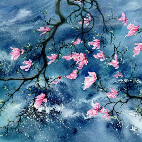 (CreativeWork) Magnolia in the wind by Cecilia Xiao. Watercolour Paint. Shop online at Bluethumb.