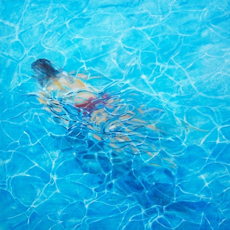 (CreativeWork) Blue swimmer by Anne Tompson. Acrylic Paint. Shop online at Bluethumb.