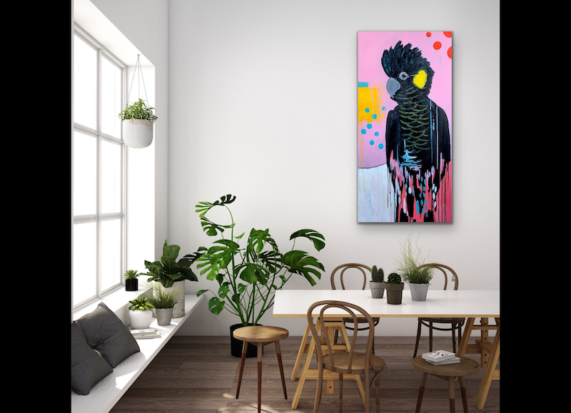 (CreativeWork) The Splendid Yellow Tail by Emma Wreyford. arcylic-painting. Shop online at Bluethumb.