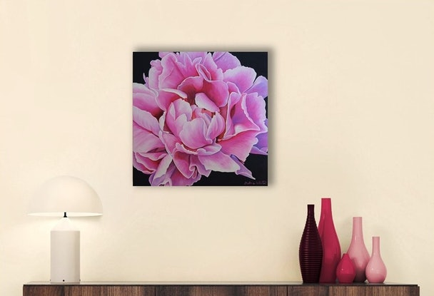 (CreativeWork) Peony in Full Bloom by Delma White. Oil Paint. Shop online at Bluethumb.