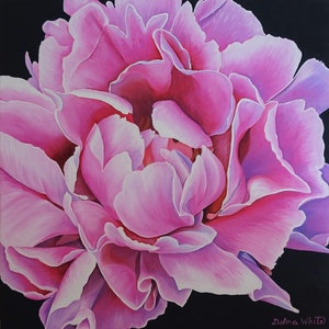 (CreativeWork) Peony in Full Bloom by Delma White. oil-painting. Shop online at Bluethumb.